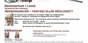 SEMINARIUM LUND: Per Gahrton: Medborgarlön - fantasi eller möjlighet? // 23 feb